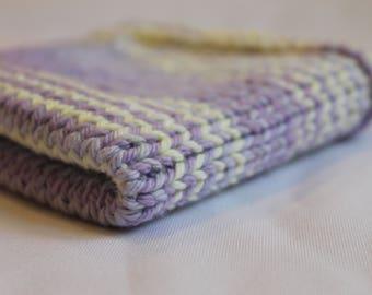 Simple Knit Washcloth Purple