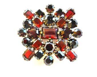 Gorgeous CZECH Vintage Garnet Glass Brooch -Sparkling  Bohemian rhinestones, explosive garnet/red color on square shape -- art.887/4 -