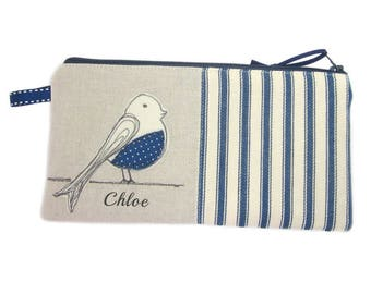 Personalised Pencil Case, Back to School Gift, Large Pencil Case, Cute Bird Pencil Holder, Blue Striped Zip Pouch, Bird Lover Gift