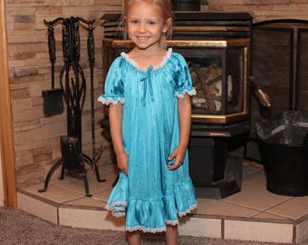 Peasant Gown - Electric Blue w/White Lace - Toddler and Girls Sized Tricot Pajamas - Pick A Color!