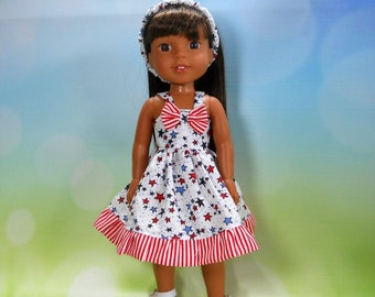 Designed for 14.5 inch dolls such as Wellie Wishers, White Dress with Red white and blue stars and stripes, 05-2108