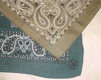 2 Vintage Cotton Bandannas • olive green & teal blue • USA Bandanas