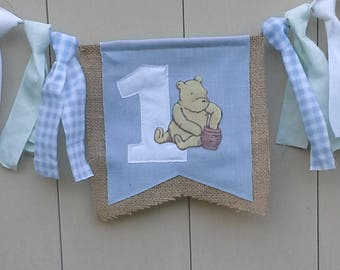 Classic Pooh Burlap first Birthday highchair banner, blue, highchair, first birthday G280- shabby chic tattered garland banner photo prop