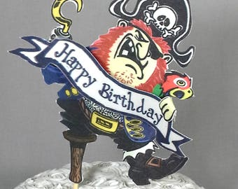 Pirate cake topper, fabric pirate theme birthday party decoration H029