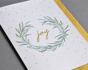 Christmas card handprinted with gold, xmas card, joy card, gold foil card, card for christmas, Christmas card with joy