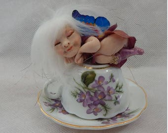 Violet Sleeping OOAK Fairy on Teacup Fairies Art Doll Figurine NEW Sculpture