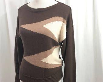 Vintage 80s Brown Geometric Pink Drop Shoulder Soft Sweater M by Ailen