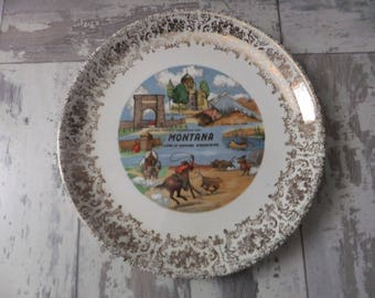 Vintage Montana Souvenir State Plate 9 Inch Gold Filigree Border Decorative Collector Travel Vacation Retro Wall Decor