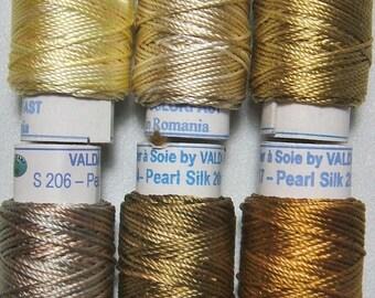 Valdani Luxury Pearls Golds Perle Silk Thread Size 12 Hand-dyed 6 Spool 12VAK11