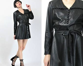 25% off Summer SALE 60s 70s Black Mini Dress Black Faux Leather Dress Club Kid Go Go Dancer Dress Pointed Collar Buttons Slick Wet Look Dres