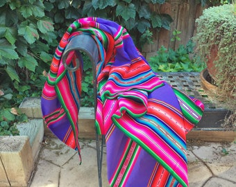 Large vintage Bolivian textile woven throw blanket tablecloth wall tapestry in bright colors