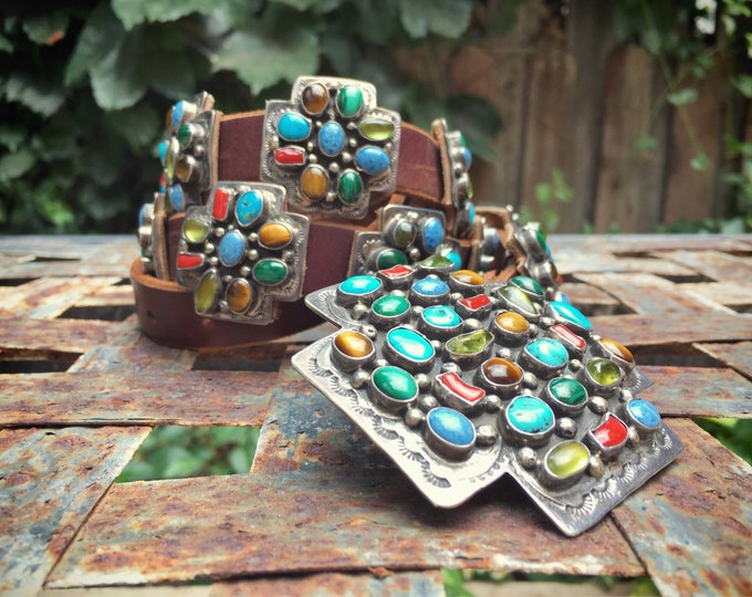 Featured listing image: Vintage Navajo Daniel Martinez turquoise and multistone concho belt Southwestern style