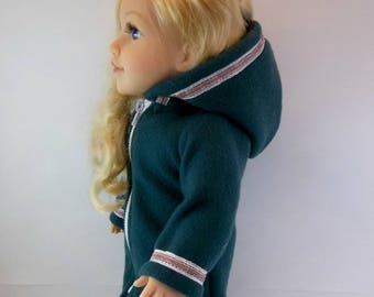 18 inch Doll Coat fits American Girl Doll Dark Green Hooded 3/4 length Winter Jacket White Red & Silver Plaid Ribbon Trim  Toys Girl