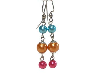 Colorful Pearl Drop Earrings, Blue Orange  Pink, Colorful Jewelry, Bright Earrings, Dangle Earrings, Gifts for Teenage Girls, Gifts Under 10