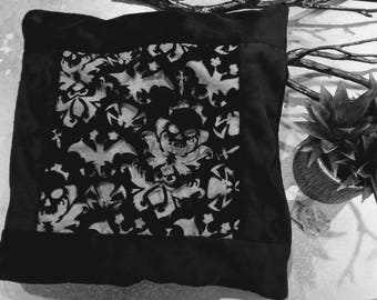 Gothic Tribal Skull Square Pillow Cover - Skull Bedding Halloween Black Velour