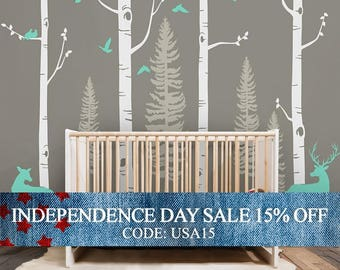 Independence Day Sale - Birch Tree Wall Decal with Birds and Deer, Baby Nursery Wall Stickers, Nursery Wall Decals, Forest with Birds and
