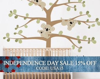 Independence Day Sale - Koala Tree Wall Decal, Koala Hanging From Branches, Baby Nursery Wall Decal