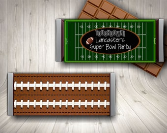 Super Bowl Party / Chocolate Bar / Super Bowl / Candy Bar Wrapper /  Football /
