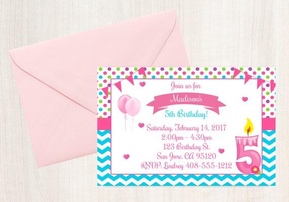 5th birthday 5th invitation birthday invitation printable il570xn filmwisefo