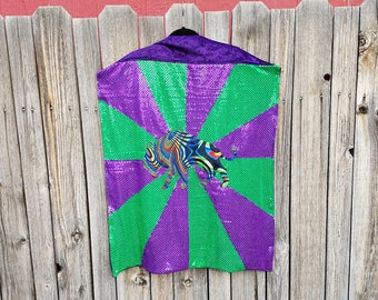 Buffalo Mid Length Cape with Bright Purple and Green Sequin Stripes with Purple Faux Velvet Lining