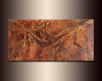 Abstract Painting, Contemporary Metallic Fine Art,  Modern Textured Landscape Abstract by Henry Parsinia  Oversize 48X24