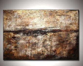 Textured Abstract Painting, Original Modern Abstract, Contemporary White Brown Fine Art By Henry Parsinia Large 36x24