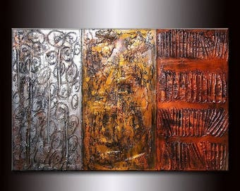 Texture Metallic Gold Silver Copper Abstract Canvas Art by Henry Parsinia 36x24