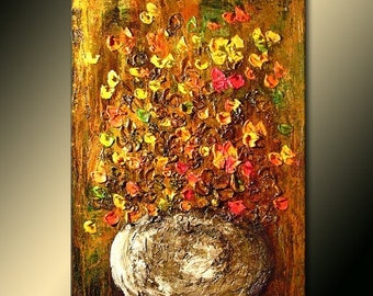 Abstract Art Original Flower Painting ,Thick texture Painting palette knife flower Floral Bouquet Abstract art Contemporary Canvas Art 36x24