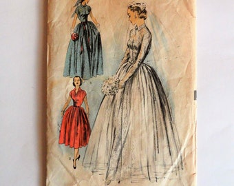 1950s Wedding dress pattern, bridesmaid bridal gown, lace dress, net overskirt, vintage sewing pattern, Advance 5814 misses size 14, bust 32