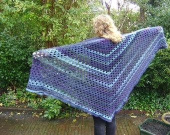 Scarf in shades of Blue, triangular, wrap , crochet