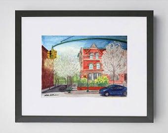 West 115th Street Harlem NYC Watercolor Painting Original Art Framed