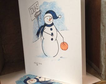 Whimsical Duke Basketball Snowman Note Cards