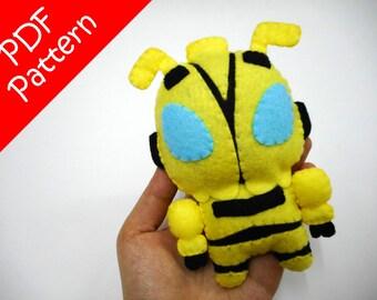 Chibi Bumble Bee Plush PDF Pattern -Instant Digital Download