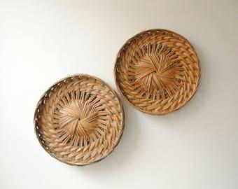 Vintage Wall Basket Pair, Boho Baskets, Basket Trays