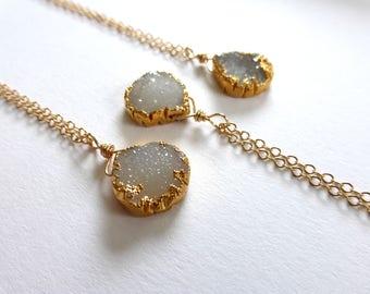 Druzy Drop Necklace, Druse Quartz, Druzy Necklace, Druzy Quartz, Gold, Crystal Quartz, Sparkle Jewelry, Bridal, Bridesmaids, Wedding Jewelry