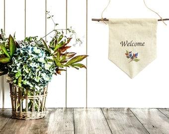 Welcome banner, pennant flag, home sign, wall pennant, fabric banner, flag bunting, Autumn home decor, embroidered banner bunting