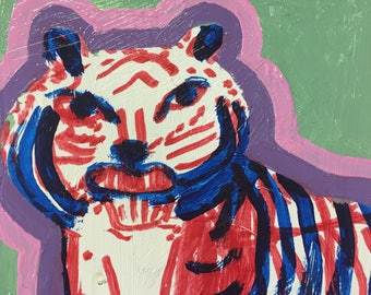 Original Acrylic Tiger Painting, titled Disgruntled Tiger by Rochester, NY artist Rina Miriam Drescher