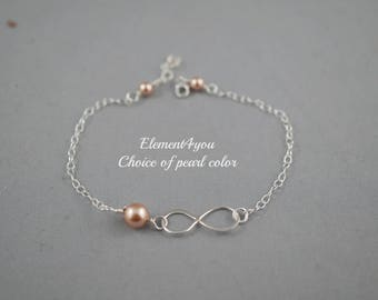 Best Friend, Maid of Honor, Bridesmaid Infinity Bracelet, Bridal Party, Wedding Gift, Be My Bridesmaid, Thank you Bracelet, Swarovski pearl