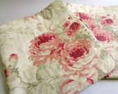 RESERVED - Custom Floral Cascading Curtains, Cream, Rose, Red, and Sage Green, Set of 6 (Balance)
