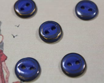 China Button 5 Blue and Gold China Buttons