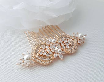 Rose Gold Bridal Hair Comb, Wedding Hair Comb, Pearl Bridal Hair Piece, Crystal, Gold,Swarovski Pearls, Bride Hair Jewelry, Maya