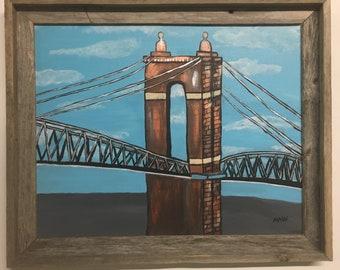 Roebling Bridge Cincinnati OH original acrylic painting barnwood frame 22.5 x 19