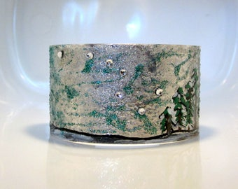 Big Dipper Bracelet, Ursa Major Bangle, Crystal Star Constellation Cuff, Silver Turquoise, Galaxy Jewelry, Stargazing Gift, 1.5 inches