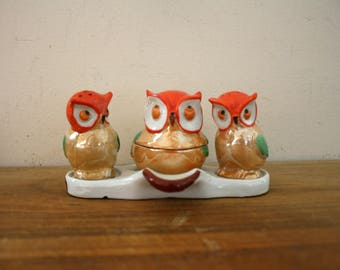 Vintage Condiment Set of Sweet Little Owl Salt and Pepper Shakers With Mustard or Sugar Pot from Japan