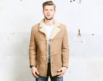 Men's Suede Sheepskin Jacket Coat . Mens Vintage 70s Sherpa Coat  Winter Jacket Leather Beige Fur Overcoat Outerwear Jacket . size Small