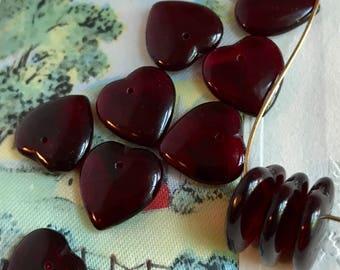 Garnet Hearts,Vintage Glass Hearts,glass heart beads,Drops Charms Dangles Beads Plum Hearts Lot Raspberry NOS. #670A