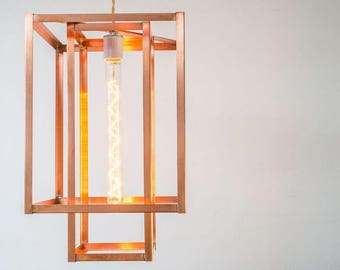 Industrial Pendant Lighting - Copper or Brass - Geometric Cage Light - UL Listed Option