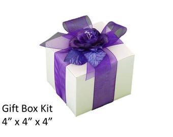 "10 Wedding Favor Gift Box KITS - Box  + Ribbon + Satin Rose, Choice of Colors - 4 "" x 4 "" inch Square - 10 White Gift Boxes Gift Wrap Kits"