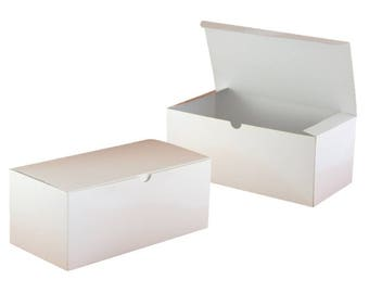 """Bulk Lot 15 White Gift Boxes - 10"""" x 5""""  Glossy White Tuck Top Boxes for Wedding Favors, Wedding Party, Gift Wrap Box for Glasses"""