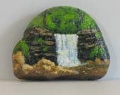 Painted Rocks, waterfalls, landscape painting, nature art, home decor, paperweight